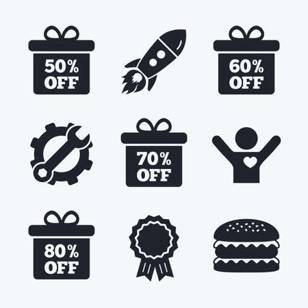50 to 60: Award achievement, spanner and cog, startup rocket and burger. Sale gift box tag icons. Discount special offer symbols. 50%, 60%, 70% and 80% percent off signs. Flat icons. Illustration