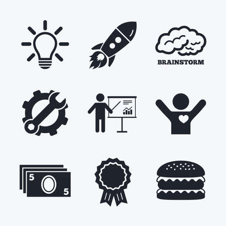 standing lamp: Award achievement, spanner and cog, startup rocket and burger. Presentation billboard, brainstorm icons. Cash money and lamp idea signs. Man standing with pointer. Scheme and Diagram symbol. Flat icons. Illustration