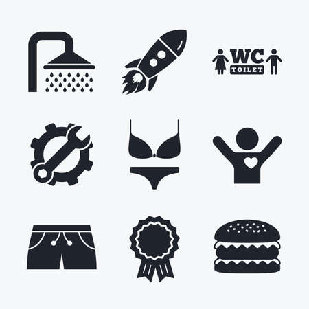 women in underwear: Award achievement, spanner and cog, startup rocket and burger. Swimming pool icons. Shower water drops and swimwear symbols. WC Toilet sign. Trunks and women underwear. Flat icons.