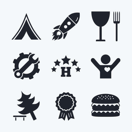 fork in road: Award achievement, spanner and cog, startup rocket and burger. Food, hotel, camping tent and tree icons. Wineglass and fork. Break down tree. Road signs. Flat icons. Illustration