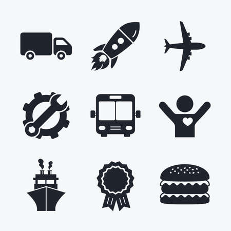 mail truck: Award achievement, spanner and cog, startup rocket and burger. Transport icons. Truck, Airplane, Public bus and Ship signs. Shipping delivery symbol. Air mail delivery sign. Flat icons.