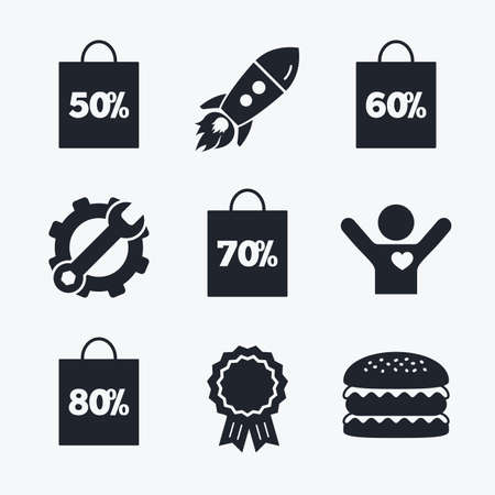 50 to 60: Award achievement, spanner and cog, startup rocket and burger. Sale bag tag icons. Discount special offer symbols. 50%, 60%, 70% and 80% percent discount signs. Flat icons.