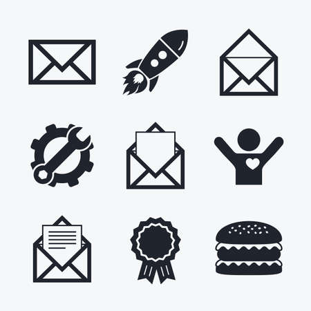 webmail: Award achievement, spanner and cog, startup rocket and burger. Mail envelope icons. Message document symbols. Post office letter signs. Flat icons.