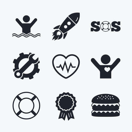 Award achievement, spanner and cog, startup rocket and burger. SOS lifebuoy icon. Heartbeat cardiogram symbol. Swimming sign. Man drowns. Flat icons.