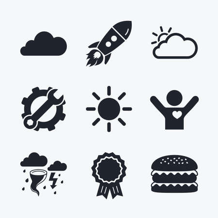 gale: Award achievement, spanner and cog, startup rocket and burger. Weather icons. Cloud and sun signs. Storm or thunderstorm with lightning symbol. Gale hurricane. Flat icons. Illustration