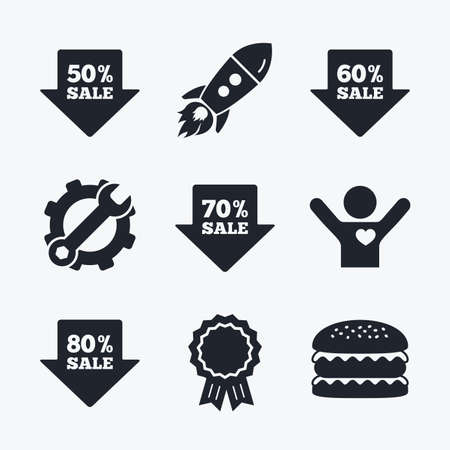 50 to 60: Award achievement, spanner and cog, startup rocket and burger. Sale arrow tag icons. Discount special offer symbols. 50%, 60%, 70% and 80% percent sale signs. Flat icons.