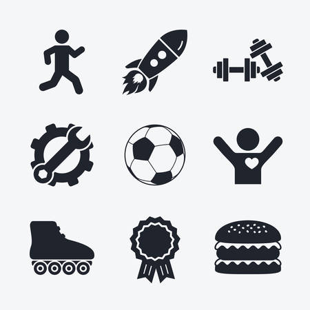 rollerblades: Award achievement, spanner and cog, startup rocket and burger. Football ball, Roller skates, Running icons. Fitness sport symbols. Gym workout equipment. Flat icons.