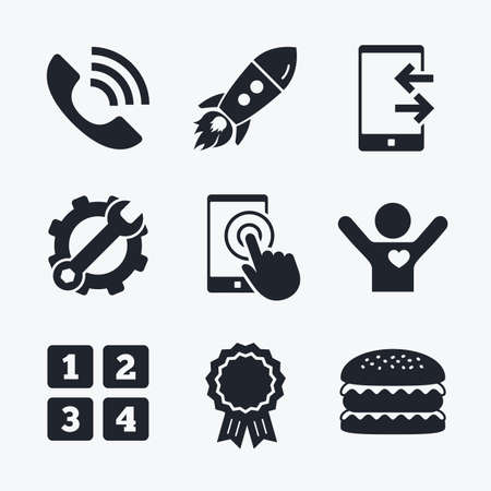 flat screen: Award achievement, spanner and cog, startup rocket and burger. Phone icons. Touch screen smartphone sign. Call center support symbol. Cellphone keyboard symbol. Incoming and outcoming calls. Flat icons. Illustration