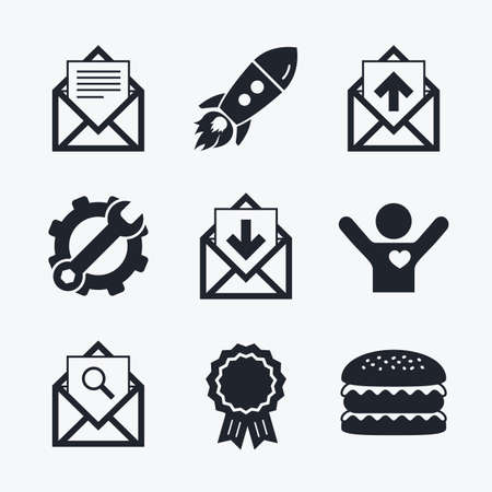 outbox: Award achievement, spanner and cog, startup rocket and burger. Mail envelope icons. Find message document symbol. Post office letter signs. Inbox and outbox message icons. Flat icons. Illustration