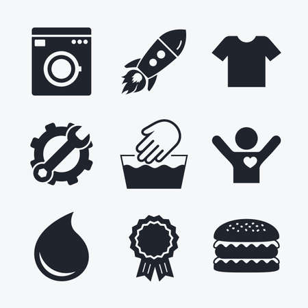 washhouse: Award achievement, spanner and cog, startup rocket and burger. Wash machine icon. Hand wash. T-shirt clothes symbol. Laundry washhouse and water drop signs. Not machine washable. Flat icons.