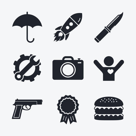 edged: Award achievement, spanner and cog, startup rocket and burger. Gun weapon icon.Knife, umbrella and photo camera signs. Edged hunting equipment. Prohibition objects. Flat icons.