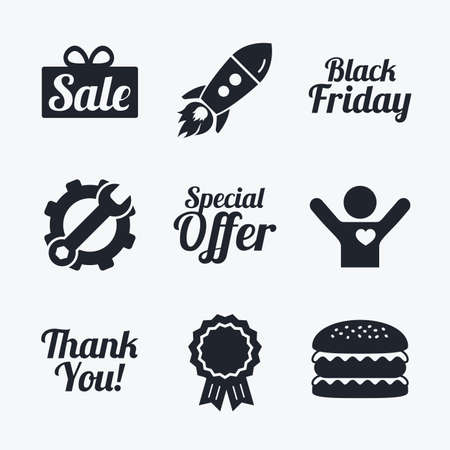you are special: Award achievement, spanner and cog, startup rocket and burger. Sale icons. Special offer and thank you symbols. Gift box sign. Flat icons.