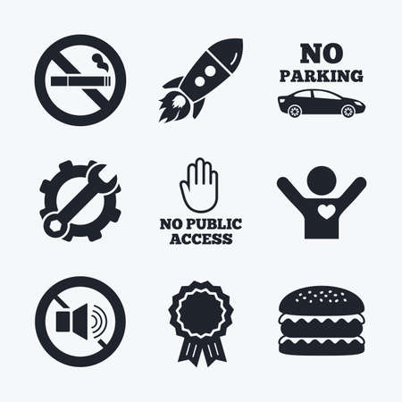 private access: Award achievement, spanner and cog, startup rocket and burger. Stop smoking and no sound signs. Private territory parking or public access. Cigarette and hand symbol. Flat icons. Illustration
