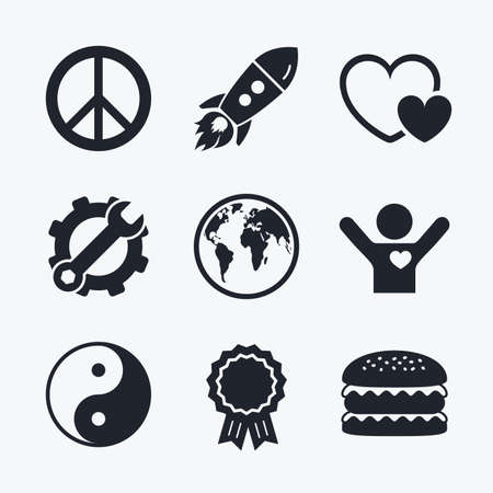 zen like: Award achievement, spanner and cog, startup rocket and burger. World globe icon. Ying yang sign. Hearts love sign. Peace hope. Harmony and balance symbol. Flat icons.