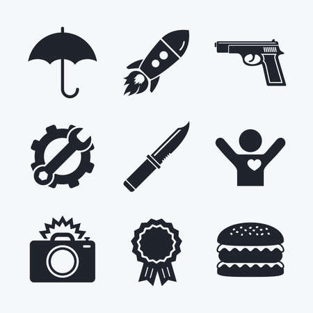 edged: Award achievement, spanner and cog, startup rocket and burger. Gun weapon icon.Knife, umbrella and photo camera with flash signs. Edged hunting equipment. Prohibition objects. Flat icons.