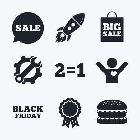 equals: Award achievement, spanner and cog, startup rocket and burger. Sale speech bubble icons. Two equals one. Black friday sign. Big sale shopping bag symbol. Flat icons.