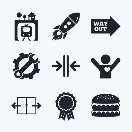 metro train: Award achievement, spanner and cog, startup rocket and burger. Underground metro train icon. Automatic door symbol. Way out arrow sign. Flat icons. Illustration