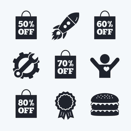 60 70: Award achievement, spanner and cog, startup rocket and burger. Sale bag tag icons. Discount special offer symbols. 50%, 60%, 70% and 80% percent off signs. Flat icons. Illustration