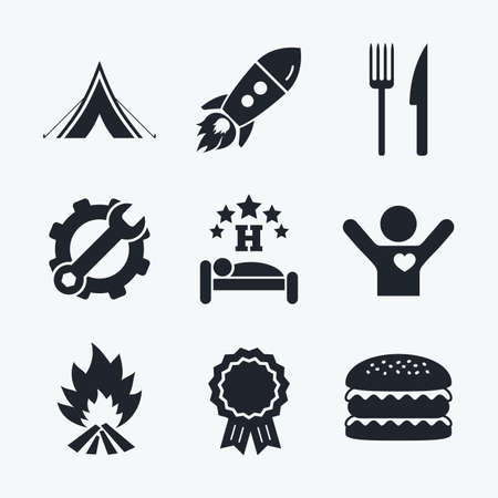 breakfast in bed: Award achievement, spanner and cog, startup rocket and burger. Food, sleep, camping tent and fire icons. Knife and fork. Hotel or bed and breakfast. Road signs. Flat icons.