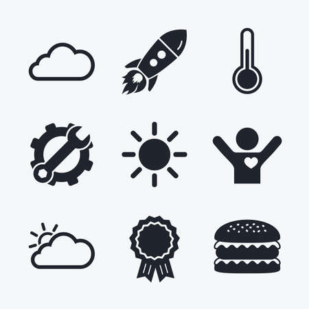 hotness: Award achievement, spanner and cog, startup rocket and burger. Weather icons. Cloud and sun signs. Thermometer temperature symbol. Flat icons.