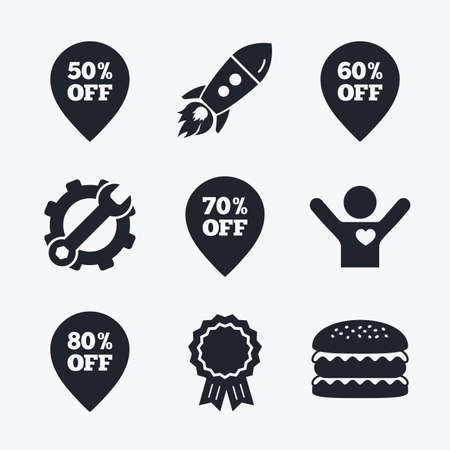 50 to 60: Award achievement, spanner and cog, startup rocket and burger. Sale pointer tag icons. Discount special offer symbols. 50%, 60%, 70% and 80% percent off signs. Flat icons.