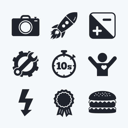 seconds: Award achievement, spanner and cog, startup rocket and burger. Photo camera icon. Flash light and exposure symbols. Stopwatch timer 10 seconds sign. Flat icons. Illustration