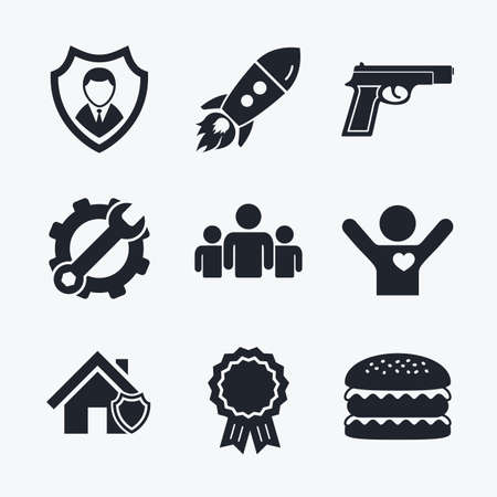 home group: Award achievement, spanner and cog, startup rocket and burger. Security agency icons. Home shield protection symbols. Gun weapon sign. Group of people or Share. Flat icons.