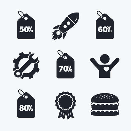 60 70: Award achievement, spanner and cog, startup rocket and burger. Sale price tag icons. Discount special offer symbols. 50%, 60%, 70% and 80% percent discount signs. Flat icons. Illustration