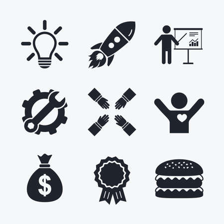 standing lamp: Award achievement, spanner and cog, startup rocket and burger. Presentation billboard icon. Dollar cash money and lamp idea signs. Man standing with pointer. Teamwork symbol. Flat icons.