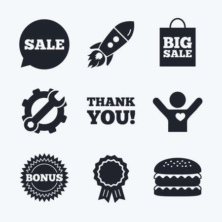 star award: Award achievement, spanner and cog, startup rocket and burger. Sale speech bubble icon. Thank you symbol. Bonus star circle sign. Big sale shopping bag. Flat icons.