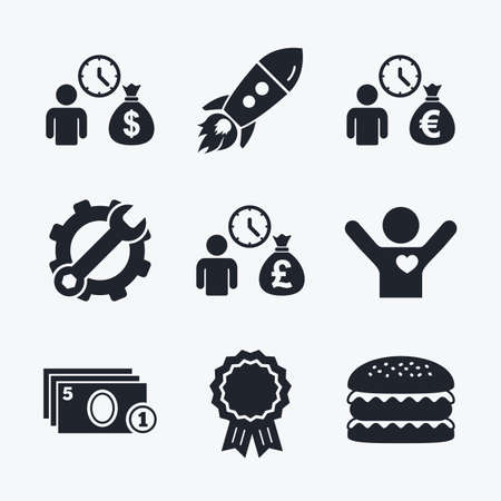 fast money: Award achievement, spanner and cog, startup rocket and burger. Bank loans icons. Cash money bag symbols. Borrow money sign. Get Dollar money fast. Flat icons.