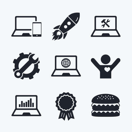 laptop repair: Award achievement, spanner and cog, startup rocket and burger. Notebook laptop pc icons. Internet globe sign. Repair fix service symbol. Monitoring graph chart. Flat icons.