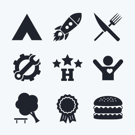 break down: Award achievement, spanner and cog, startup rocket and burger. Food, hotel, camping tent and tree icons. Knife and fork. Break down tree. Road signs. Flat icons.