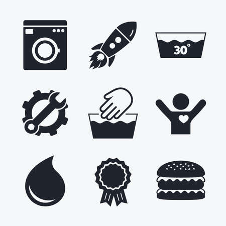washhouse: Award achievement, spanner and cog, startup rocket and burger. Hand wash icon. Machine washable at 30 degrees symbols. Laundry washhouse and water drop signs. Flat icons.