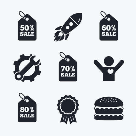 50 to 60: Award achievement, spanner and cog, startup rocket and burger. Sale price tag icons. Discount special offer symbols. 50%, 60%, 70% and 80% percent sale signs. Flat icons.