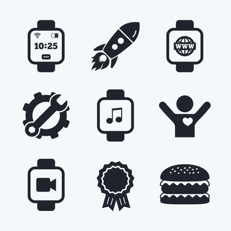 watch video: Award achievement, spanner and cog, startup rocket and burger. Smart watch icons. Wrist digital time watch symbols. Music, Video, Globe internet and wi-fi signs. Flat icons.