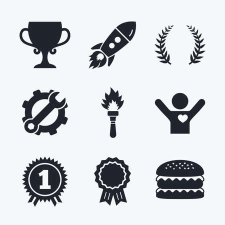 medal like: Award achievement, spanner and cog, startup rocket and burger. First place award cup icons. Laurel wreath sign. Torch fire flame symbol. Prize for winner. Flat icons. Illustration