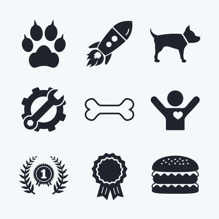 clutches: Award achievement, spanner and cog, startup rocket and burger. Pets icons. Cat paw with clutches sign. Winner laurel wreath and medal symbol. Pets food. Flat icons.