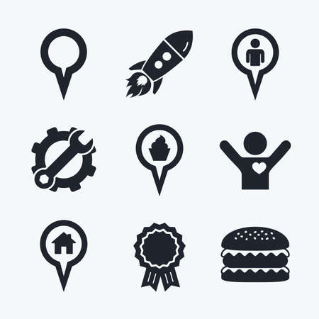 position d amour: Award achievement, spanner and cog, startup rocket and burger. Map circle pointer icons. Home, food and user location symbols. Restaurant and cupcake signs. You are here. Flat icons. Illustration