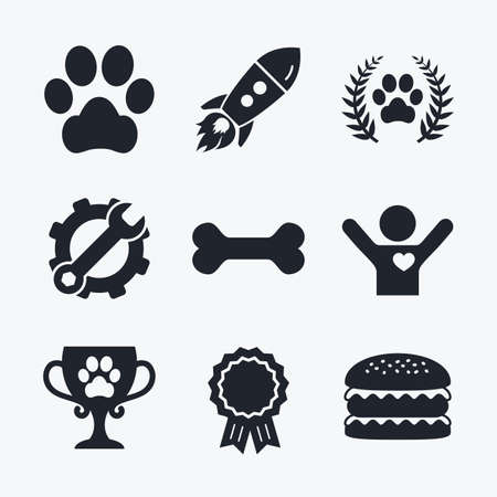treat like a dog: Award achievement, spanner and cog, startup rocket and burger. Pets icons. Dog paw sign. Winner laurel wreath and cup symbol. Pets food. Flat icons.