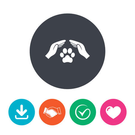 shelter: Protection of animals sign icon. Hands protect paw symbol. Shelter for dogs. Animals insurance. Download arrow, handshake, tick and heart. Flat circle buttons.