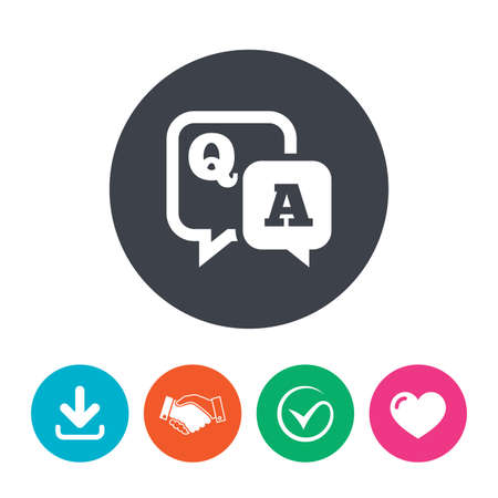 qa: Question answer sign icon. Q&A symbol. Download arrow, handshake, tick and heart. Flat circle buttons.