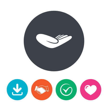 endowment: Donation hand sign icon. Charity or endowment symbol. Human helping hand palm. Download arrow, handshake, tick and heart. Flat circle buttons.