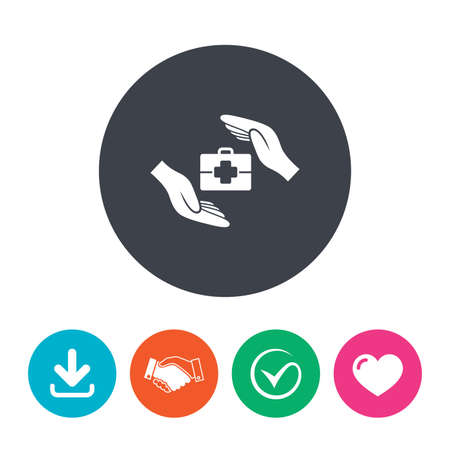medical case: Medical insurance sign icon. Health insurance symbol. Doctor case. Download arrow, handshake, tick and heart. Flat circle buttons.