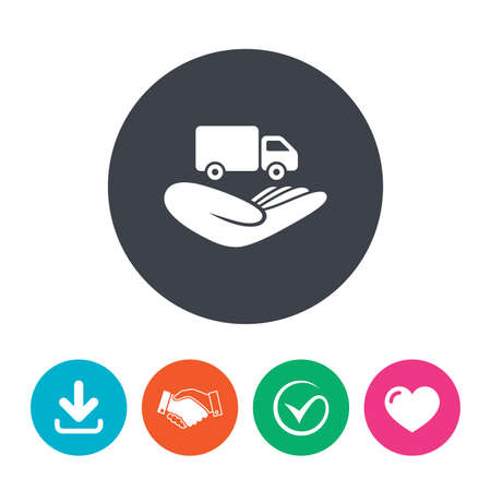 heart damage: Company vehicles insurance sign icon. Hand holds delivery truck. Protection vehicle from damage and accidents. Download arrow, handshake, tick and heart. Flat circle buttons.