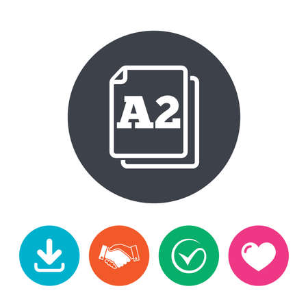 a2: Paper size A2 standard icon. File document symbol. Download arrow, handshake, tick and heart. Flat circle buttons.