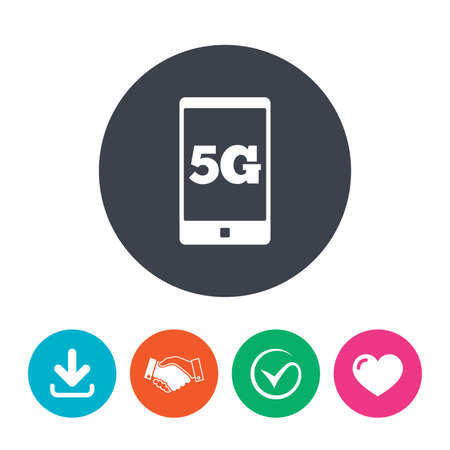 5g: 5G sign icon. Mobile telecommunications technology symbol. Download arrow, handshake, tick and heart. Flat circle buttons. Illustration