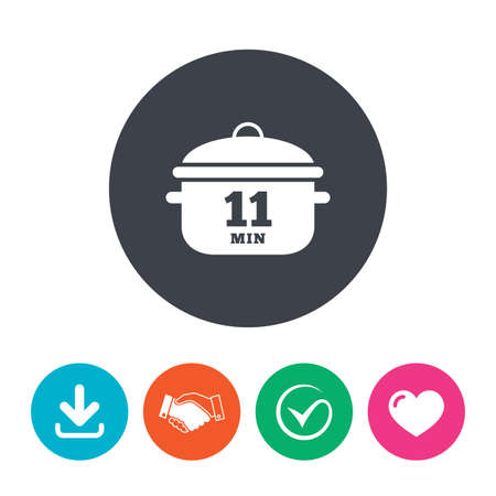 stew: Boil 11 minutes. Cooking pan sign icon. Stew food symbol. Download arrow, handshake, tick and heart. Flat circle buttons.