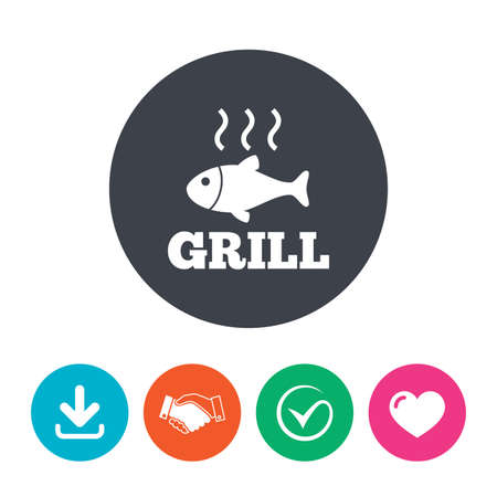 fry: Fish grill hot sign icon. Cook or fry fish symbol. Download arrow, handshake, tick and heart. Flat circle buttons. Illustration