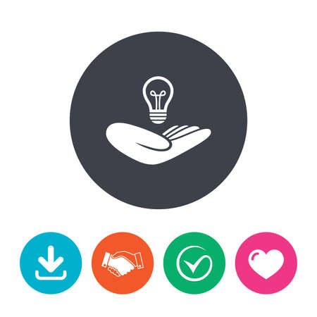 intellectual: Idea patent insurance sign. Hand holds lamp bulb symbol. Intellectual Property. Download arrow, handshake, tick and heart. Flat circle buttons.